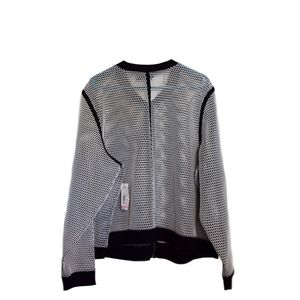 a.n.a Jackets & Coats - Perforated White Jacket with Black Contrast Trim